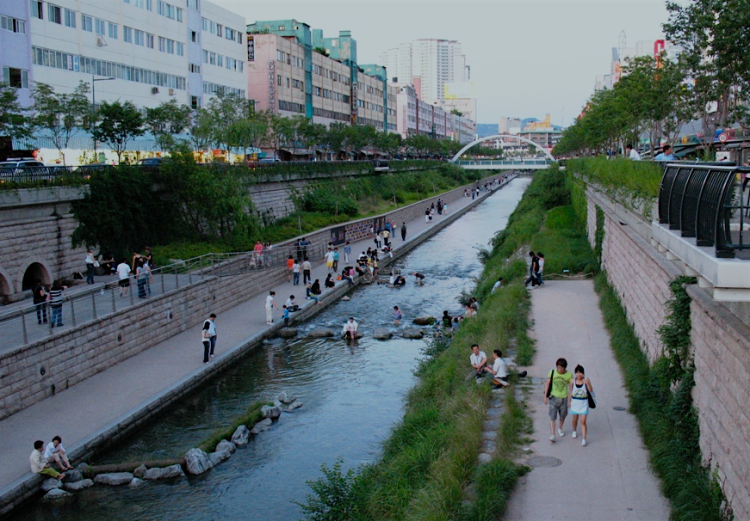 Cheonggyecheon stream restoration in Seoul.