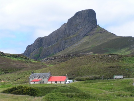 An Sgurr, the highest hill on the Inner Hebridean island of Eigg, Lochaber, Highland, Scotland.  Photo by James Gray August 2005