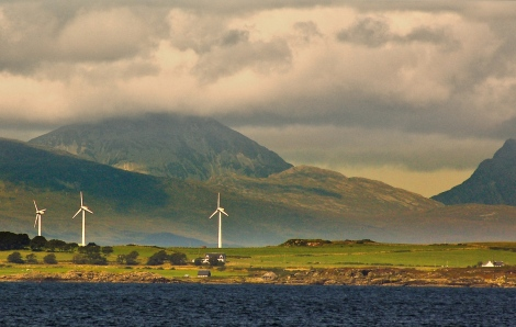 Ilse of Gigha's community owned wind turbines - the Dancing Ladies.  Photo by Chris Tomline