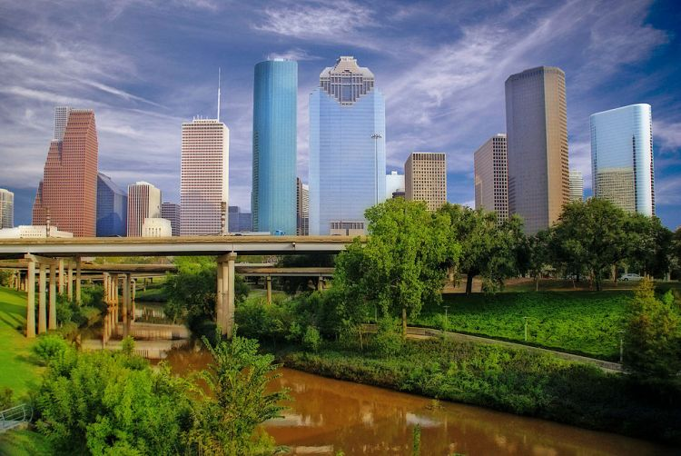 Downtown Houston, the I45 freeway and the Buffalo Bayou, taken from Sabine Street by Rod Jones 2011.